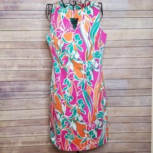 Anne Klein 10 pink colorful sleeveless lined dress